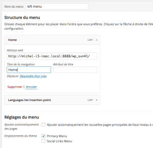 Une structure simple de menu