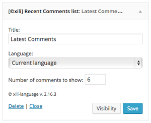 Widget Recent comments list