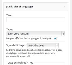 Réglages du widget Liste de langues