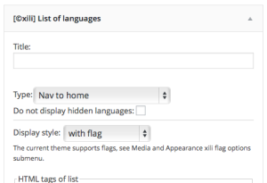 Settings of style in widget Language list